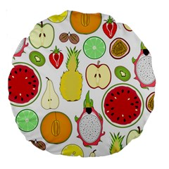 Mango Fruit Pieces Watermelon Dragon Passion Fruit Apple Strawberry Pineapple Melon Large 18  Premium Round Cushions by Mariart