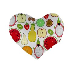 Mango Fruit Pieces Watermelon Dragon Passion Fruit Apple Strawberry Pineapple Melon Standard 16  Premium Heart Shape Cushions by Mariart