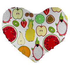 Mango Fruit Pieces Watermelon Dragon Passion Fruit Apple Strawberry Pineapple Melon Large 19  Premium Heart Shape Cushions by Mariart