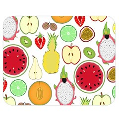 Mango Fruit Pieces Watermelon Dragon Passion Fruit Apple Strawberry Pineapple Melon Double Sided Flano Blanket (medium)  by Mariart