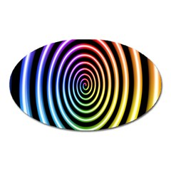Hypnotic Circle Rainbow Oval Magnet by Mariart