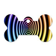 Hypnotic Circle Rainbow Dog Tag Bone (two Sides) by Mariart