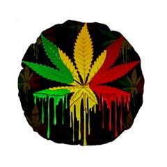 Marijuana Cannabis Rainbow Love Green Yellow Red Black Standard 15  Premium Round Cushions by Mariart