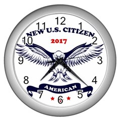 New U S  Citizen Eagle 2017  Wall Clocks (silver)  by crcustomgifts