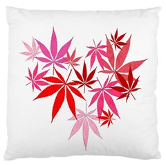 Marijuana Cannabis Rainbow Pink Love Heart Large Flano Cushion Case (two Sides) by Mariart