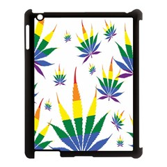 Marijuana Cannabis Rainbow Love Green Yellow Red White Leaf Apple Ipad 3/4 Case (black) by Mariart
