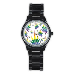 Marijuana Cannabis Rainbow Love Green Yellow Red White Leaf Stainless Steel Round Watch by Mariart