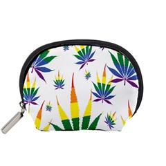Marijuana Cannabis Rainbow Love Green Yellow Red White Leaf Accessory Pouches (small)  by Mariart