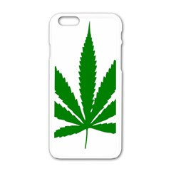 Marijuana Weed Drugs Neon Cannabis Green Leaf Sign Apple Iphone 6/6s White Enamel Case by Mariart