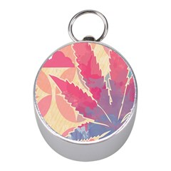Marijuana Heart Cannabis Rainbow Pink Cloud Mini Silver Compasses by Mariart