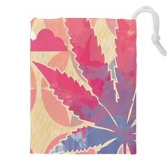 Marijuana Heart Cannabis Rainbow Pink Cloud Drawstring Pouches (xxl) by Mariart