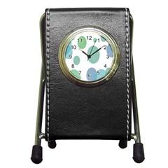 Polka Dots Blue Green White Pen Holder Desk Clocks by Mariart