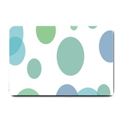 Polka Dots Blue Green White Small Doormat  by Mariart