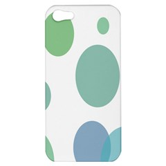 Polka Dots Blue Green White Apple Iphone 5 Hardshell Case by Mariart