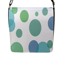 Polka Dots Blue Green White Flap Messenger Bag (l)  by Mariart