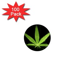Marijuana Weed Drugs Neon Green Black Light 1  Mini Magnets (100 Pack)  by Mariart