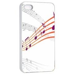 Musical Net Purpel Orange Note Apple Iphone 4/4s Seamless Case (white) by Mariart