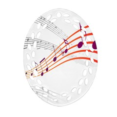Musical Net Purpel Orange Note Oval Filigree Ornament (two Sides) by Mariart