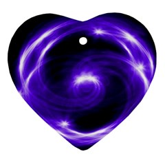 Purple Black Star Neon Light Space Galaxy Ornament (heart) by Mariart
