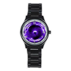 Purple Black Star Neon Light Space Galaxy Stainless Steel Round Watch by Mariart