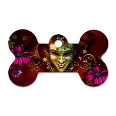 Wonderful Venetian Mask With Floral Elements Dog Tag Bone (two Sides) by FantasyWorld7
