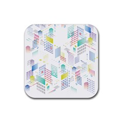 Layer Capital City Building Rubber Square Coaster (4 Pack)  by Mariart