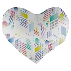 Layer Capital City Building Large 19  Premium Heart Shape Cushions by Mariart