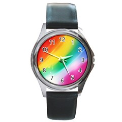 Red Yellow White Pink Green Blue Rainbow Color Mix Round Metal Watch by Mariart