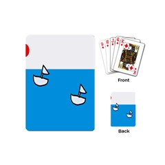 Ship Sea Beack Sun Blue Sky White Water Playing Cards (mini)  by Mariart