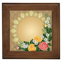 Rose Sunflower Star Floral Flower Frame Green Leaf Framed Tiles by Mariart