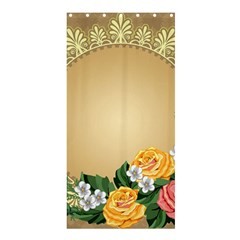 Rose Sunflower Star Floral Flower Frame Green Leaf Shower Curtain 36  X 72  (stall)  by Mariart