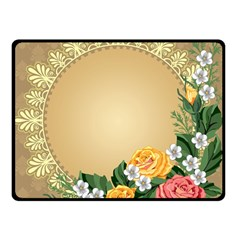 Rose Sunflower Star Floral Flower Frame Green Leaf Double Sided Fleece Blanket (small)  by Mariart