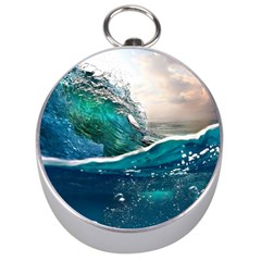 Sea Wave Waves Beach Water Blue Sky Silver Compasses by Mariart