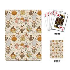 Sinister Helloween Cat Pumkin Bat Ghost Polka Dots Vampire Bone Skull Playing Card by Mariart