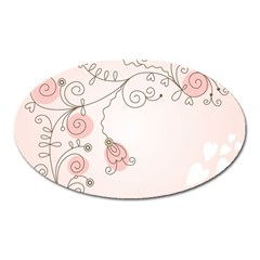 Simple Flower Polka Dots Pink Oval Magnet by Mariart