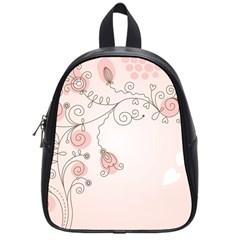 Simple Flower Polka Dots Pink School Bag (small)