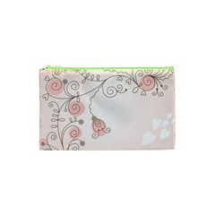 Simple Flower Polka Dots Pink Cosmetic Bag (xs) by Mariart
