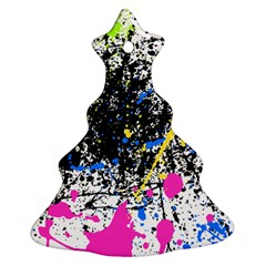Spot Paint Pink Black Green Yellow Blue Sexy Christmas Tree Ornament (two Sides) by Mariart