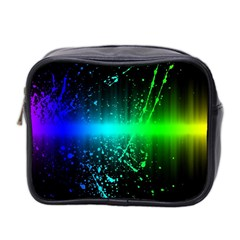 Space Galaxy Green Blue Black Spot Light Neon Rainbow Mini Toiletries Bag 2 Side by Mariart