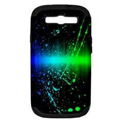 Space Galaxy Green Blue Black Spot Light Neon Rainbow Samsung Galaxy S Iii Hardshell Case (pc+silicone) by Mariart