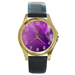 Space Star Planet Galaxy Purple Round Gold Metal Watch by Mariart