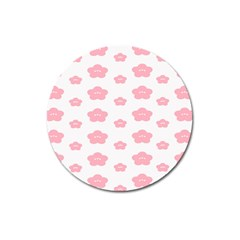 Star Pink Flower Polka Dots Magnet 3  (round) by Mariart