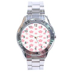 Star Pink Flower Polka Dots Stainless Steel Analogue Watch by Mariart