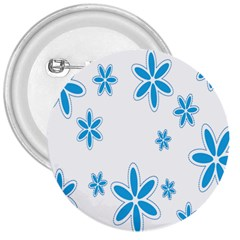Star Flower Blue 3  Buttons by Mariart