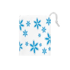 Star Flower Blue Drawstring Pouches (small)  by Mariart