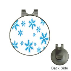 Star Flower Blue Hat Clips With Golf Markers by Mariart