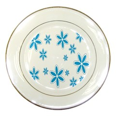 Star Flower Blue Porcelain Plates by Mariart