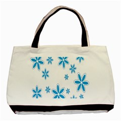 Star Flower Blue Basic Tote Bag by Mariart