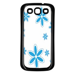 Star Flower Blue Samsung Galaxy S3 Back Case (black) by Mariart