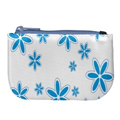 Star Flower Blue Large Coin Purse by Mariart
